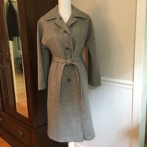Vintage 70s gray wool trench coat